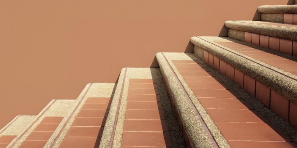 orange outdoor staircase